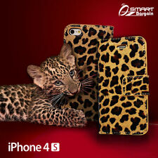 Leopard Wallet Flip Leather Case Cover For iPhone 4 4S 4G + Screen G Stand Card