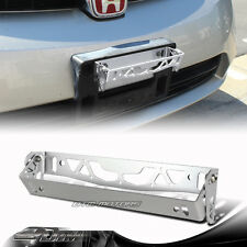 Silver Brushed Aluminum Front Adjustable Tilt License Plate Bracket Universal B