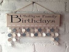 Wooden Personalised Birthdays Board, Family Planner. Organiser, Calendar Gift