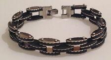 gourmette bracelet mixte stainless steel argent déco noir 4015
