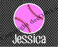 Pink Softball Name Customized Decal for Girls Window/Car/Truck