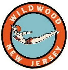 Wildwood, New Jersey  NJ   Vintage-Style Travel Decal