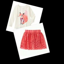 NWT Gymboree Back To Bloom Fox Top&Orange Gold Heart Tutu Skirt  Outfit Size 7/8