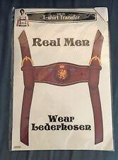 Octoberfest Real Men Wear Lederhosen Iron On Transfer For T-Shirt Costume Craft