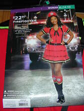 HALLOWEEN COSTUME:Fire Fighter Fireman Woman XL Dress Hat Gloves Boot Tp Cosplay