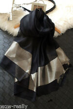 New Style Fashion Thai Silk 100% Silk Black Women Scarf Shawl Wrap