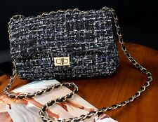 Tweed Chain Strap Handbag Crossbody Flap Bag Blue Black Grey