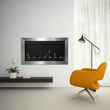 "Stainless Steel Bio Ethanol Fireplace Heater Smokeless 7 Burner 43"" Wall Mount"