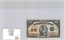 BILLET CANADA - 25 CENTS - 2.7.1923 - J120960