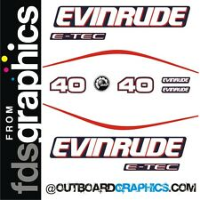Evinrude 40hp E-TEC outboard engine decals/sticker kit