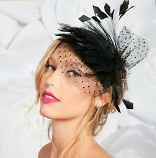 Lady Girl Peacock Feather&Veil Hair Clip Fascinator Headpiece Wedding Party Wear
