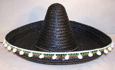 BLACK MEXICIAN SOMBRERO HAT W POM POMS mexico dressup party supplies costume new