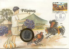 superbe enveloppe PHILIPPINES PILIPINAS monnaie 50 S 1985 UNC NEW timbre COQS