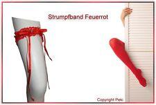 Strumpfband Feuerrot - mit geschliffenem Strassstein - Halterlose, Stayups