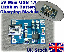 5V Mini USB 1A Lithium Battery Charging Module Charger   Arduino PI - UK Stock