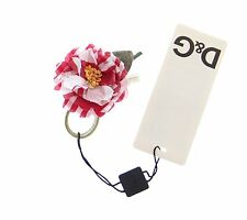 NWT $160 DOLCE & GABBANA D&G Red Checkered Flower Cotton Brooch Accessory