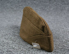 World War 2 WW2 Military Overseas Cap Hat Greenish Brown Size 7 1/8 1942 Era