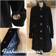 BODEN Black Velvet Long Large Button Coat Blue Pattern Lining Size 12