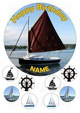 "SAILING BOAT BOATS CAKE TOPPER ROUND EDIBLE ICED ICING FROSTING 7.5"" +8 CUPCAKE"