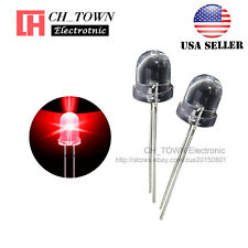50pcs 8mm Led Diodes Red Light Emitting Water Clear Round top Transparent USA