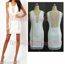 Summer Mesh Sheer See Through Back Dance Club Party Celebrity Dress WHITE Medium