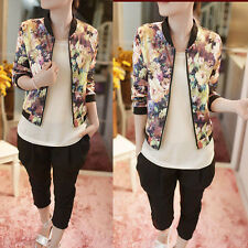 Auturm Floral print women summer jackets elastic waist full length casual jacket