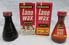"""Old Esquire Lano Wax Brown Black Vintage Empty 5"""" Glass Bottles w Boxes FREE S/H"""