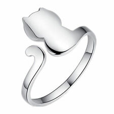 Big Cat 925 Sterling Silver Adjustable Open Ring Ladies Jewellery Valentine Gift