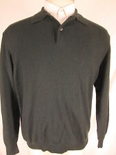 Brioni Mens Blue Green 100% Cashmere Polo Sweater L Italy Made