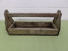 "ANTIQUE PRIMITIVE WOOD CARPENTERS TOOL BOX CADDY TOTE WITH WOOD HANDLE 21"" LONG"
