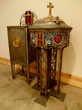 Antique Vtg Church Art Deco Ornate Metal Holy Water Baptismal Font and Cabinet