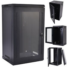 15U Wall Mount Network Server Data Cabinet Enclosure Rack Glass Door Lock w