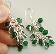 GREEN ONYX & 925 Sterling Silver Hook Drop Dangle Earrings 62mm - 91s