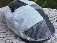 STETSON GRAY PATCHWORK M cotton linen blend Cabbie MEDIUM 57 DRIVING Cap Hat New