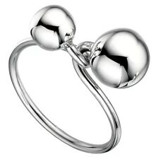12mm/8mm SOLID 925 Sterling Silver Duo Twisted Sphere BALLS ring 5.36g Size 7