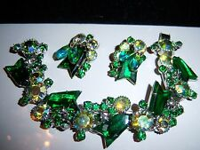 VTG JULIANA  EMERALD GREEN ARROW GLASS BEAD AB RHINESTONE BRACELET EARRING SET