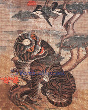 "Korean Art, Minhwa(민화)-Tiger and magpie, 8""x10"" Printed on silk Matted fa2"