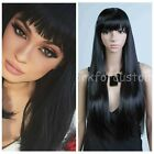 Women's Stylish Black Long Straight Wig Girl Full Hair Wig Cosplay +Free CAP