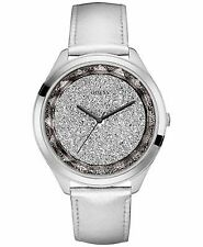 New GUESS U0652L1 Women's Sparkling Leather Silver Metalic Crystal Dial Watch
