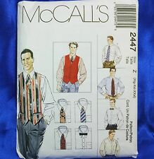 McCall's 2447 Men's Lined Vest Shirt Tie & Bow Tie Sewing Pattern Xlg-Xxxl New