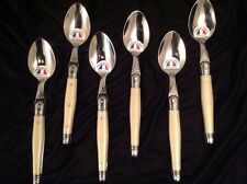 Laguiole Dubost SET OF SIX 6 Ivory Dinner Spoons NEW!  Made In Thiers, France