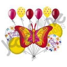 11 pc Spring Summer Butterfly Happy Birthday Balloon Bouquet Decoration Bugs
