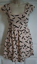 I LOVE H81 Forever 21 Womens Soft Pink Feather Print Sleeveless Dress SMALL