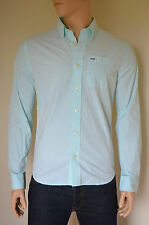 NUOVO Abercrombie & Fitch sawteeth Mountain VERDE CLASSICO BUTTON DOWN SHIRT M
