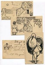 USA Philadelphia PA 1905 / 1906 Hand Illustrated Sketches on Postcards x 4