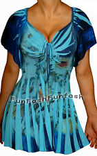 EY2 FUNFASH BLUE FLORAL SLIMMING EMPIRE WAIST WOMEN PLUS SIZE TOP SHIRT 1X 18 20
