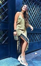ZARA Khaki Olive Satin Lace Trim Side Split Slip Cami Dress Small BNWT