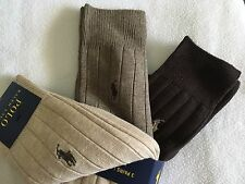 Polo Ralph Lauren Socks~3 Pack~Oatmeal/Taupe/Brown~Custom Fit~Combed Cotton~NWT