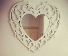 French Ornate White Large Heart Mirror Shabby Chic BNIB