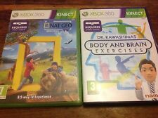 XBOX 360 Kinect Bundle - Nat Geo America The Wild & Body & Brain Exercises VGC